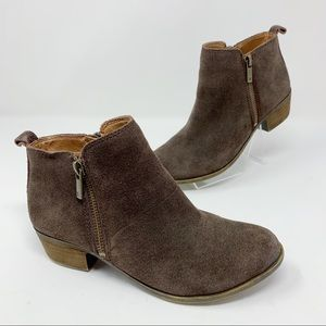 LUCKY BRAND Basel Suede Ankle Booties Brown Size 6